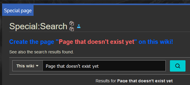 Screenshot of search results for a page that doesn't exist yet